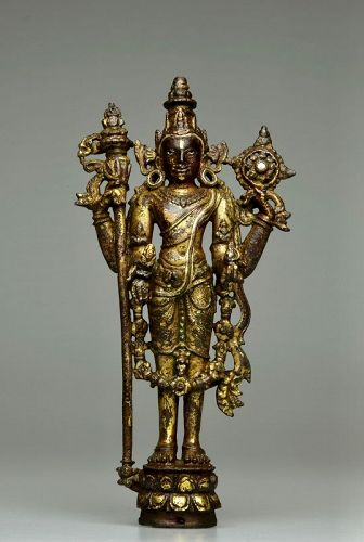 10th Century Northeast India Gilt Bronze Vishnu