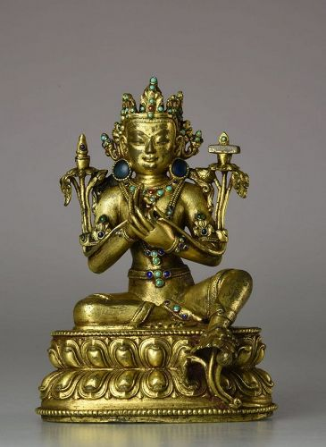 14th Century Yuan Dynasty Gilt Bronze Manjushri