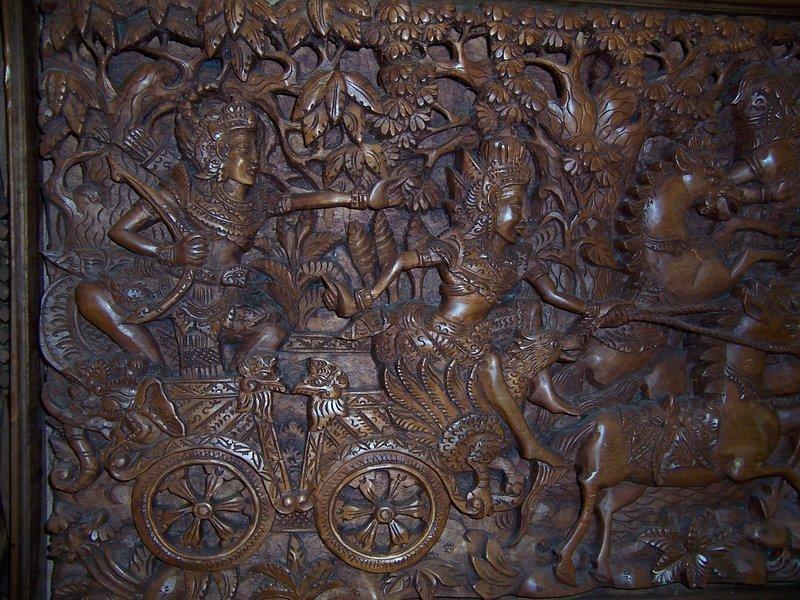 A Massive Indonesian Teak Wood Carved Panel