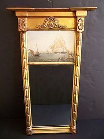 A Very Fine Federal Giltwood Pier Mirror Circa 1800