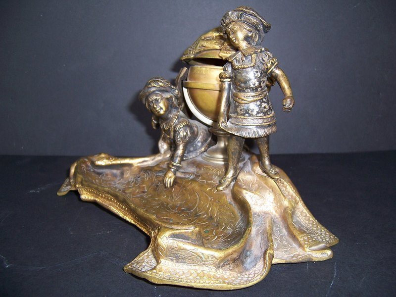 A Good Late 19th Century European Bronze Inkwell