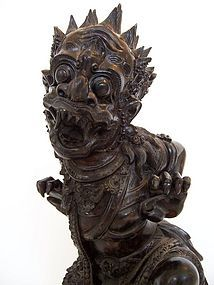 A Superb Indonesian Ebony Wood Carving of Ruana