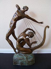 "Misha Frid, ""The Harp Player"" in Bronze"