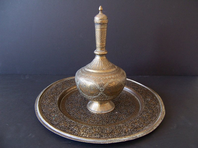 A 19th Century Brass Surahi with Kashmiri Undertray