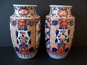 A Large and Regal Pair of Imari Vases, Meiji 1868-1912