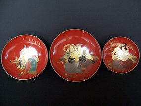 A Good Set of Ceremonial Lacquer Sake Bowls, Showa