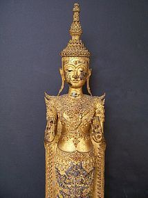 A Fine and Large Rattanakosin Bronze Buddha, 19th Cent