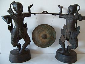 A Fine and Large Pair of  Bronze Burmese Gongsmen