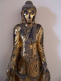 A Very Large Burmese Standing Buddha, 19th Century