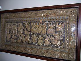 A Fine and Massive Vintage Burmese Kalaga, Framed