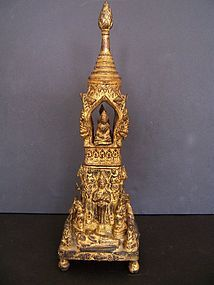 A Fine Gilt Bronze Thai Reliquary, 19th Century