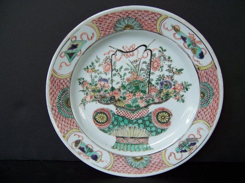 A Good Kangxi Period (1662-1722) Flower Basket Plate
