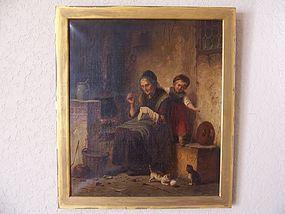 Hermann Werner, Original Oil Painting, Dated 1868