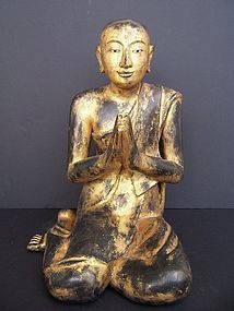 A Large Burmese  Carved Wood Monk, 19th century
