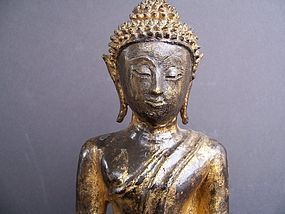 A Very Good 18th Century Gilded Bronze Thai Buddha