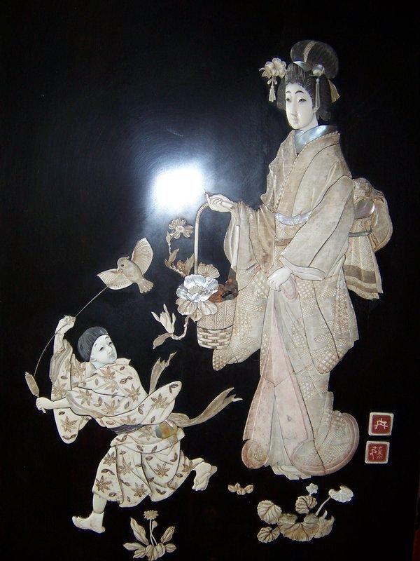 A Large Ivory Inlay Meiji Era (1868-1912) Floor Screen