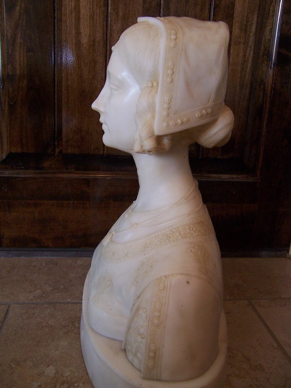 A Superbly Carved 19th Century Marble Bust of a Woman
