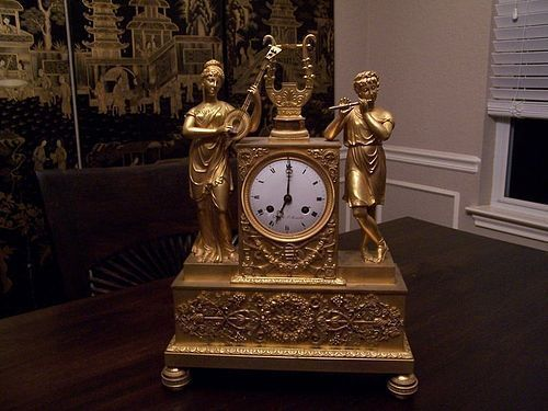 A Marvelous French Restoration Period (1814-1830) Gilt Bronze Clock