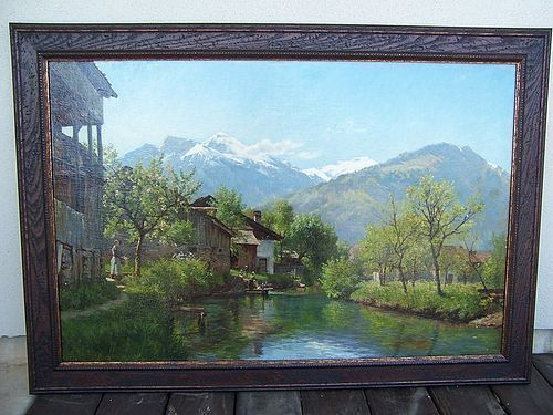 A Stunning Oil on Canvas Vista by August Fischer, dated 1866