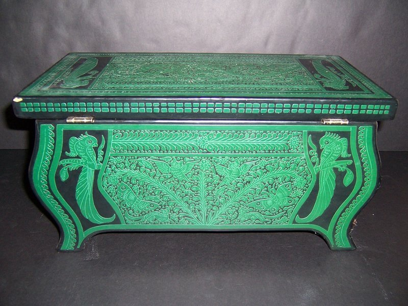 A Mexican Handpainted Wooden Box