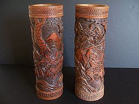 A Large Pair of Japanese Bamboo Carvings, late Meiji
