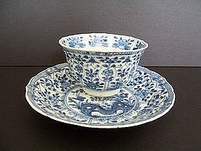 A Blue and White Teacup and Saucer, Kangxi-Yongzheng