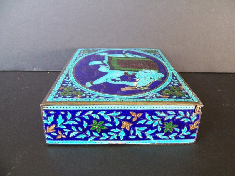A Very Pretty Enameled Silver Box from Rajasthan