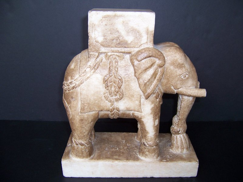 A Large Carved Marble Caparisoned Elephant (India)