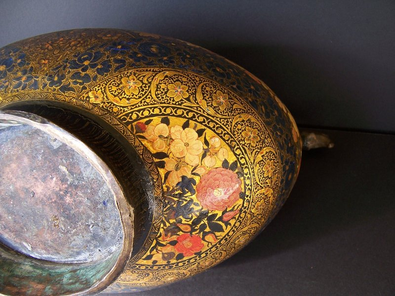 An Exceptional Lacquered Kashmiri Kashkul, 19th Century