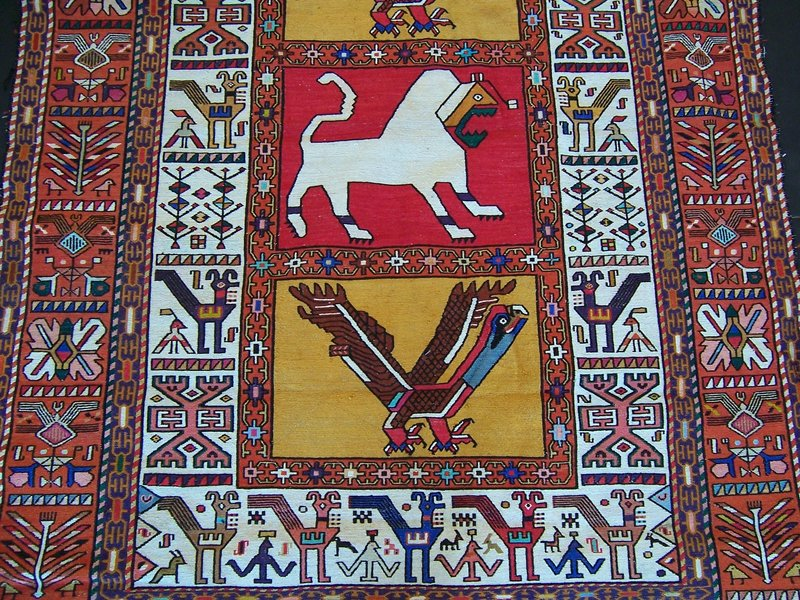 A Very Striking Vintage Persian Silk/Cotton Kilim Rug