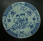 Blue and white porcelain plate, Kangxi ( 1662 - 1722 )