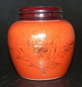 Small coral red jar, Tongzi ( 1862 - 1874 )