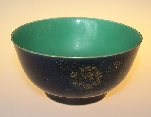 Powder blue and turquoise bowl, Kangxi ( 1662 - 1722 )
