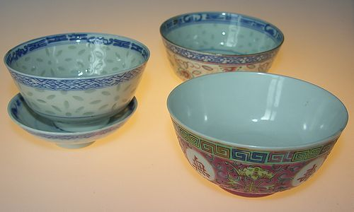3 bowls, 19:th century