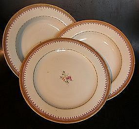 Lot of three familie rose plates, around 1790