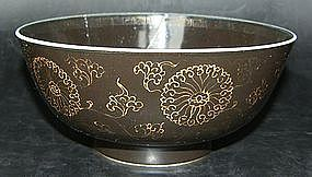 Black porcelain bowl, Kangxi (1662 - 1722)