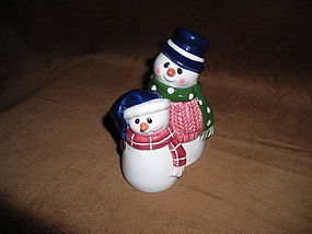ROMAN Mr. & Mme SNOWMAN SALT & PEPPER SHAKERS