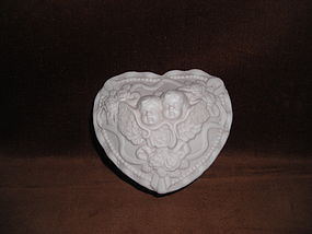 WHITE BISQUE ANGEL TRINKET BOX