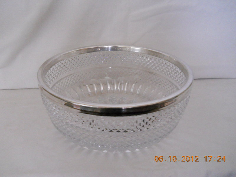 GERMANY,  CUT  GLASS  SALAD  BOWL  WITH  SILVER  RIM
