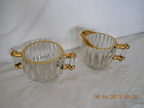 CLEAR GLASS & 24 KT GOLD SUGGAR BOWL AND CREAMER