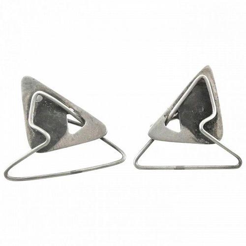 BIG Vintage 1950s Handmade Sterling Silver Studio Modernist EARRINGS