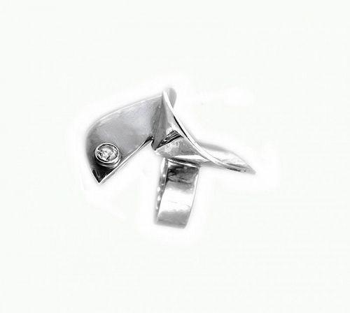HUGE 1980s Signed Handmade Sterling Silver Modernist Cocktail RING