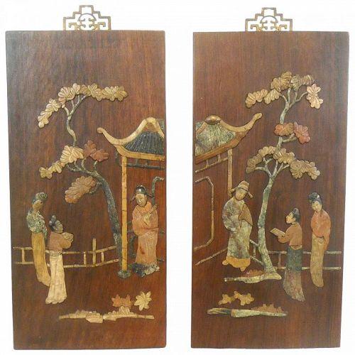 PAIR Superb 1940s Chinese Mahogany & Hardstone Inlay PANELS