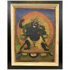 VINTAGE 1920s Tibetan Thangka Mahakala Buddhist Framed PAINTING