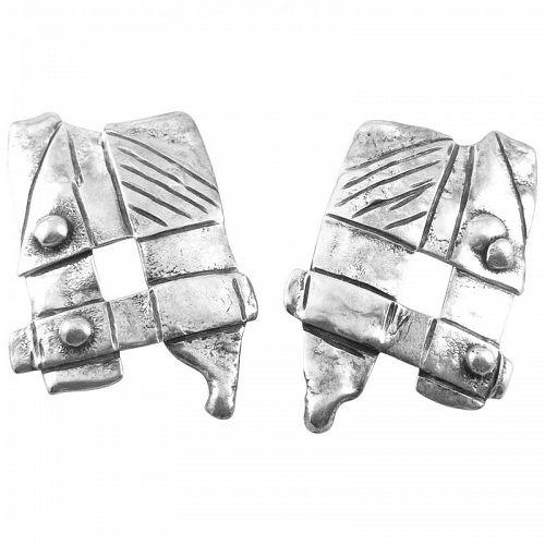 BIG 1970s SIGNED Handmade Sterling Silver Brutalist Pierced EARRINGS