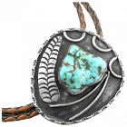BIG 1960s Native Tribal Old Pawn Sterling Silver & Turquoise BOLO TIE