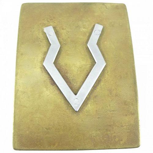 BIG 1970s Handmade Mixed Metals Bronze Sterling Geometric BELT BUCKLE