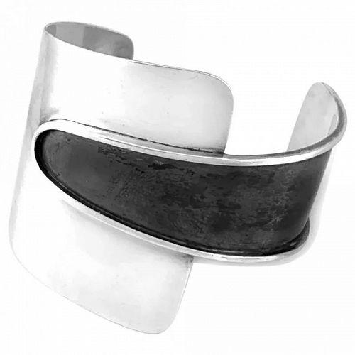 HUGE 1940s 50s Ed WIENER Handmade Sterling Silver Modernist BRACELET