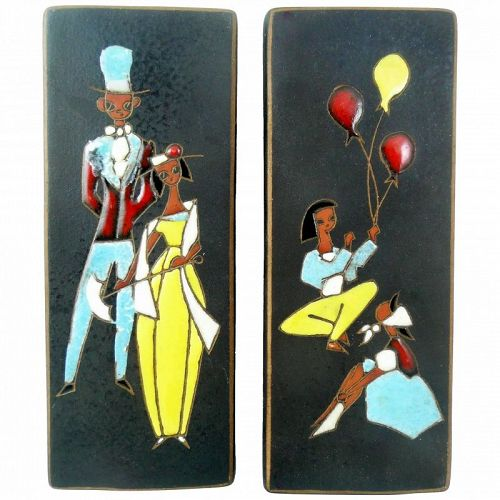 PAIR Signed 1950s West Germany Ceramic Modernist Figures Wall ART
