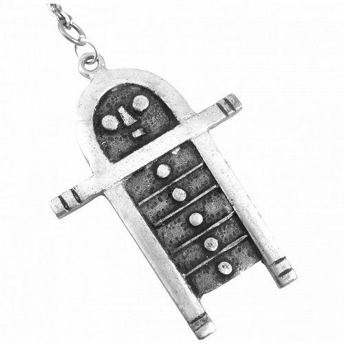 BIG 1950s Janos PERCZ Hungary Silvered Bronze Robot Man NECKLACE